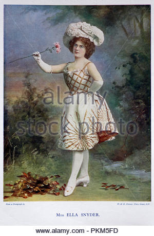 Ella Snyder portrait, was an English actress from the late victorian and Edwardian period,  colour illustration from 1899 - Stock Photo