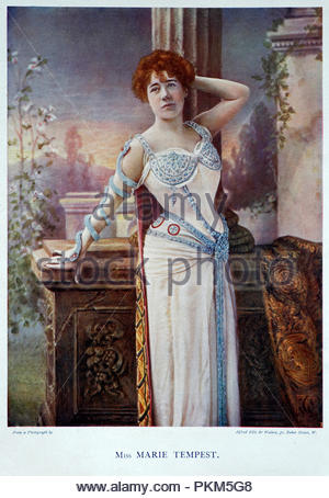 Marie Tempest portrait, 1864 – 1942, was an English singer and actress, colour illustration from 1899 - Stock Photo