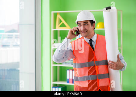 Man architect working on the project - Stock Photo