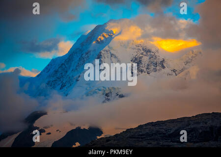 View of Breithorn peak (4165 meters) from Rothorn (3.103 meteres). Viewpoint. Zermatt. Swiss Alps . Valais. Switzerland. Europe. - Stock Photo