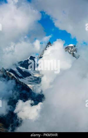 In the middleground Ober Gabelhorn peak (4.063 meters). On the right Wellenkuppe (3.903 meters). Zermatt. Swiss Alps . Valais. Switzerland. Europe. - Stock Photo