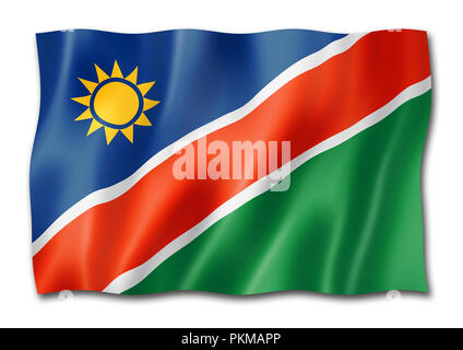 Namibia flag, three dimensional render, isolated on white - Stock Photo