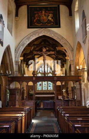 UK, Yorkshire, Wharfedale, Burnsall, St Wilfrid's 12th century church interior - Stock Photo