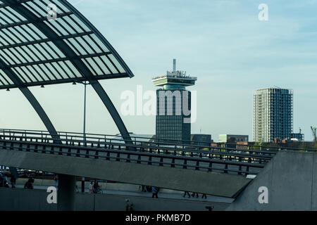 Netherlands,Amsterdam - 21 April 2017: Amsterdam Central railway station - Stock Photo
