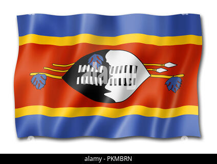 Swaziland flag, three dimensional render, isolated on white - Stock Photo