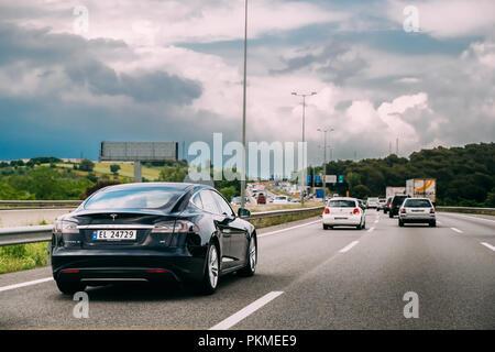 Valldoriolf, Barcelona, Spain-  May 18, 2018: Tesla Model S 85 Car In Motion On Motorway Highway Freeway Road. Tesla Model S Is All-electric Five-door - Stock Photo