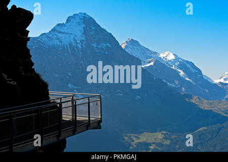First Cliff Walk by Tissot in front of the Eiger North Face, Grindelwald, Switzerland - Stock Photo