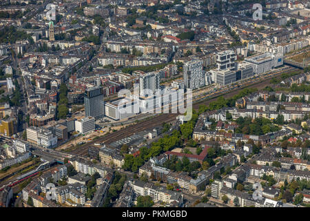 Aerial view, New residential buildings and office towers on Toulouser Allee, Lierenfeld, Düsseldorf, Holiday Inn Düsseldorf - Stock Photo