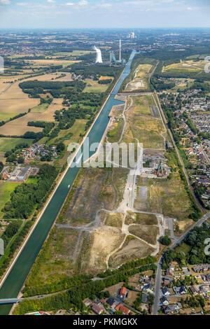 Aerial view, Halde Oberaden and Wasserstadt, former colliery mine Haus Aden Schacht 2, behind it power plant Heil - Stock Photo