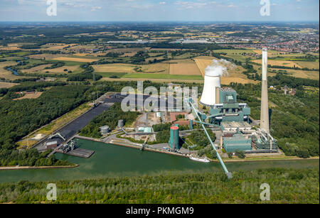 Aerial view, Power plant Heil, joint power station Bergkamen, Bergkamen, Ruhr Area, North Rhine-Westphalia, Germany - Stock Photo