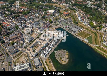 Aerial view, Phoenix Lake Dortmund, Phoenix Lake, Emscher, Hörder Castle, Dortmund, Ruhr Area, North Rhine-Westphalia, Germany - Stock Photo