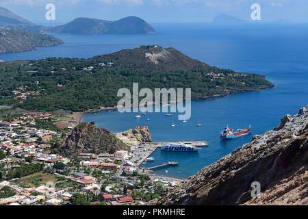 View from the crater rim on Lipari, Vulcano island, Aeolian and Lipari islands, Sicily, Italy - Stock Photo