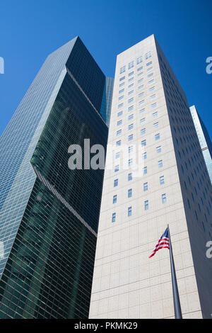New York, USA - July 30, 2013: Detail of typical skyscrapers in New York, USA - Stock Photo