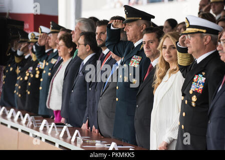 Mexico City, Mexico. 13th Sep, 2018. Mexican President, Enrique PeЦa Nieto, hosts a Military Parade at the Heroic Collegio Militar (Military Academy) in Mexico City, Mexico, Sept. 13, 2018. Credit: Us Joint Staff/Russian Look/ZUMA Wire/Alamy Live News - Stock Photo