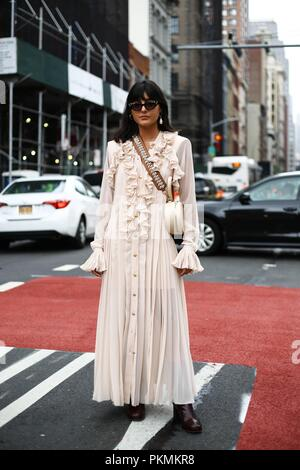 María Bernad posing on the street outside of the Maryam Nassir show during New York Fashion Week - Sept 12, 2018 - Photo: Runway Manhattan ***For Editorial Use Only*** | usage worldwide - Stock Photo
