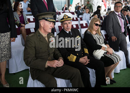 Mexico City, Mexico. 13th Sep, 2018. U.S. Marine Corps Gen. Joe Dunford, chairman of the Joint Chiefs of Staff, sits beside Urugrayan Navy Commandant Adm. Carlos Abilleira before the start of a Military Parade hosted by Mexican President, Enrique PeЦa Nieto, in Mexico City, Mexico, Sept. 13, 2018. Credit: Us Joint Staff/Russian Look/ZUMA Wire/Alamy Live News - Stock Photo