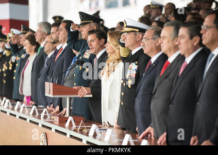 Mexico City, Mexico. 13th Sep, 2018. Mexican President, Enrique PeЦa Nieto, speaks during a Military Parade at the Heroic Collegio Militar (Military Academy) in Mexico City, Mexico, Sept. 13, 2018. Credit: Us Joint Staff/Russian Look/ZUMA Wire/Alamy Live News - Stock Photo