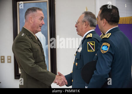 Mexico City, Mexico. 13th Sep, 2018. U.S. Marine Corps Gen. Joe Dunford, chairman of the Joint Chiefs of Staff, greets Mexican Lt. Gen. Roble Arturo Granados Gallardo, Chief of Staff for National Defense, before departing Mexico City, Mexico, Sept. 13, 2018. (DoD Photo by U.S. Army Sgt. James K. McCann) US Joint Staff via globallookpress.com Credit: Us Joint Staff/Russian Look/ZUMA Wire/Alamy Live News - Stock Photo