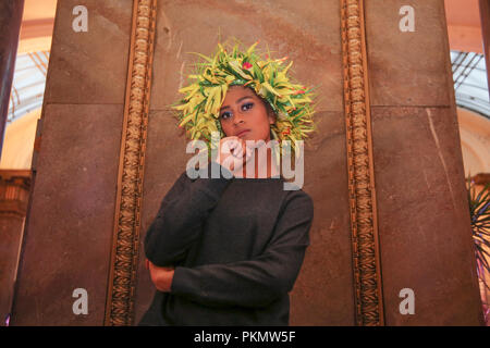 London UK 14 September 2018 The South Pacific designers and models parade trough the halls of Australia House in London ,to highlight the colous and fashion of the south pacific islands@Paul Quezada-Neiman/Alamy Live News - Stock Photo