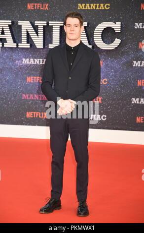 London, UK. 13th September 2018. Connor Swindells,'Maniac' Netflix TV Premiere,Queen Elizabeth Hall,Southbank,London.UK Credit: michael melia/Alamy Live News - Stock Photo