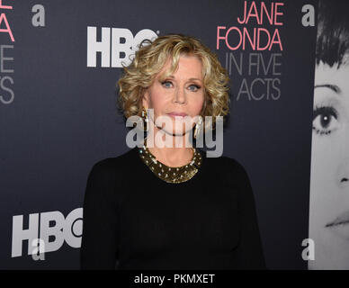 Westwood Village, USA. 13th Sep, 2018. Jane Fonda attends the Los Angeles premiere of HBO's 'Jane Fonda in Five Acts' at the Hammer Museum in Westwood Village, California on September 13, 2018. Credit: The Photo Access/Alamy Live News - Stock Photo