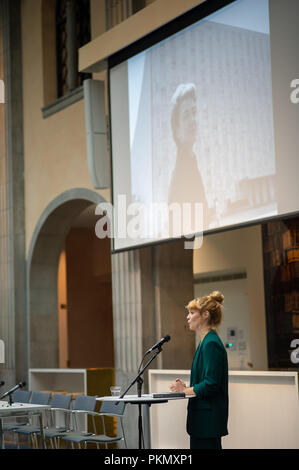 Stockholm, Sweden, September 14, 2018. Seminar about Agda Rössel (1910-2001) Sweden's and the world's first female UN ambassador. Presentation of the book 'Her Excellency Agda Rössel: from Lineman cottage to the UN Scraper 'by author Elin Jäderström. The author Elin Jäderström. The seminar is held at the Ministry of Foreign Affairs. Credit: Barbro Bergfeldt/Alamy Live News - Stock Photo