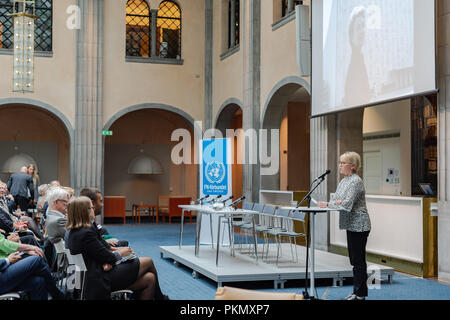 Stockholm, Sweden, September 14, 2018. Seminar about Agda Rössel (1910-2001) Sweden's and the world's first female UN ambassador. Introductory words by Foreign Minister Margot Wallström.The seminar is held at the Ministry of Foreign Affairs.  Credit: Barbro Bergfeldt/Alamy Live News - Stock Photo