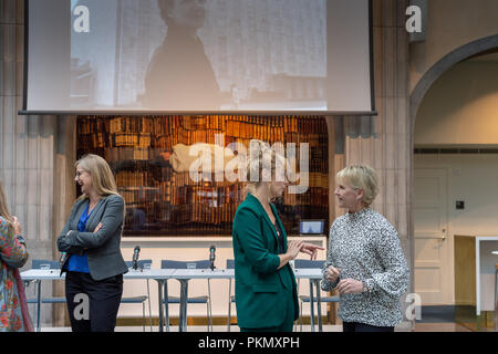 Stockholm, Sweden, September 14, 2018. Seminar about Agda Rössel (1910-2001) Sweden's and the world's first female UN ambassador. Author Elin Jäderström (left) and Foreign Minister Margot Wallström (right). The seminar is held at the Ministry of Foreign Affairs.Credit: Barbro Bergfeldt/Alamy Live News - Stock Photo