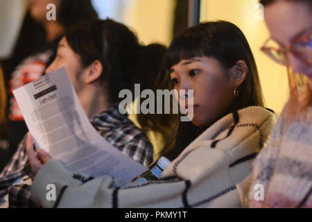 London, UK. 14th September 2018. Fashionist attend the Fashion Scout - SS19 Day 1, London, UK 14 September 2018. Credit: Picture Capital/Alamy Live News - Stock Photo