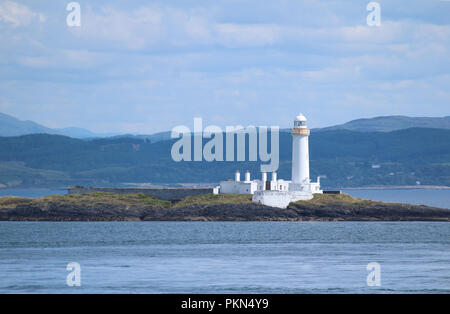 The picturesque Eilean Musdile Lighthouse, situated in the Sound of Mull in the beautiful Scottish Highlands. - Stock Photo