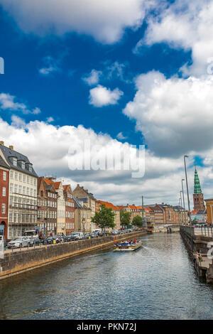 COPENHAGEN, DENMARK - JUNE 13, 2018: View at canal in Copenhagen, Denmark. Copenhagen is the capital and most populous city of Denmark. - Stock Photo