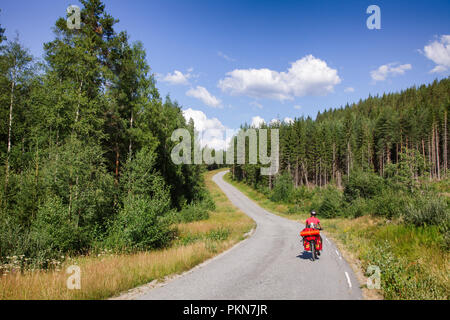Traveling cyclist rides a cycle route along scenic forest road in Southern Norway - Stock Photo