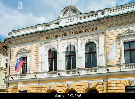 Academia Philharmonic on Congress square in Ljubljana in Slovenia - Stock Photo