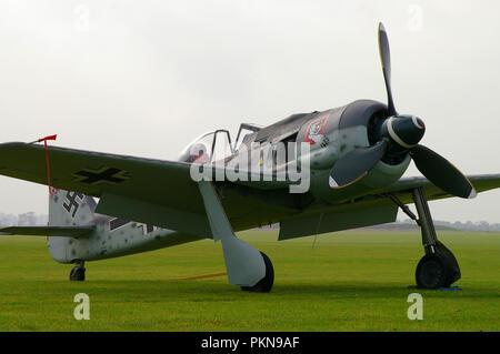 FW-190. Spitfire Ltd's Focke Wulf Fw190A rebuild.  Flugzeug-Werke 190 new build Luftwaffe Second World War fighter plane. German World War Two - Stock Photo