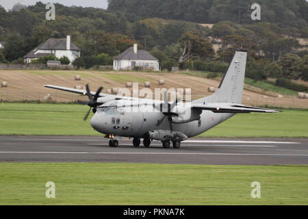 MM62222/46-86, an Alenia C-27J Spartan operated by the Italian Air Force, at Prestwick International Airport in Ayrshire for a quick refuelling stop. - Stock Photo