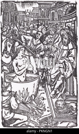 The Martyrdom of a Saint. Medium: woodcut [restrike 1968]. Museum: National Gallery of Art, Washington DC. Author: Probably French 16th Century. - Stock Photo
