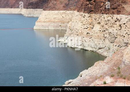 Drought in the USA. Low level of Lake Mead (border of Arizona and Nevada). - Stock Photo