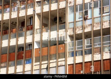 Balconies on an worker's apartment building in Jeddah, Kingdom of Saudi Arabia - Stock Photo
