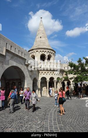 BUDAPEST, HUNGARY - JUNE 20, 2014: People visit Fisherman's Bastion in Budapest. It is the largest city in Hungary and 9th largest in the EU (3.3 mill - Stock Photo