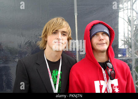 Tom Fletcher and Dougie Poynter of pop band McFly at the Red Bull Air Race London. British group - Stock Photo