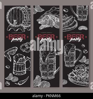 Three beer party banners with beer keg, mug, chips, nuts, chicken wings, hop branch and snack plate on black. - Stock Photo