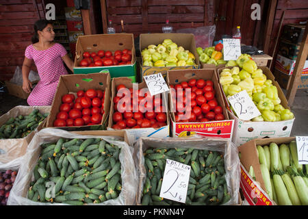 Vegetable stall in the Obor Market in Bucharest, Romania - Stock Photo