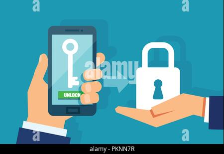 Mobile security, data protection concept. Hands holding smartphone with access key and a shield lock icon. Vector illustration - Stock Photo
