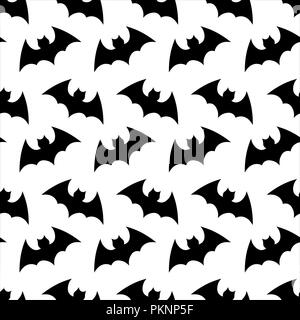Seamless pattern. Halloween background.Halloween flying bat. Halloween vector seamless pattern wallpaper background. silhouette of bats. - Stock Photo