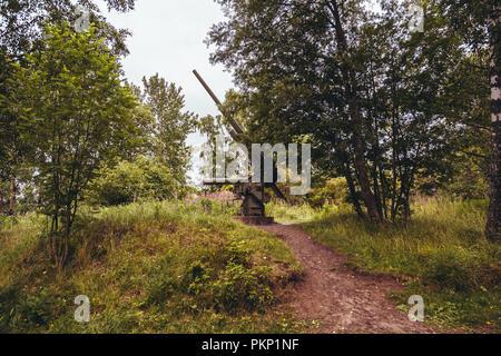 Old Anti Aircraft gun in the woods of Lauttasaari Helsinki Finland on a summer day - Stock Photo