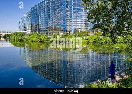 Strasbourg, France, The European Parliament is the official seat of the institution where MEPs meet to adopt Community texts in plenary sessions. - Stock Photo