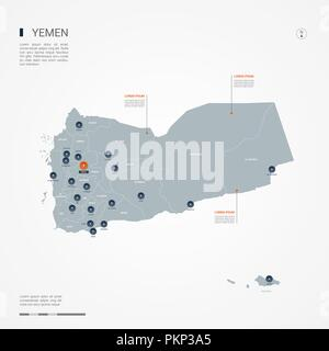 Yemen map with borders, cities, capital and administrative divisions. Infographic vector map. Editable layers clearly labeled. - Stock Photo