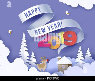 Color paper cut design and craft winter landscape with evergreen tree, house with smoke from chimney stars and clouds. Holiday nature and christmas tree. Vector illustration. Merry Christmas card. - Stock Photo