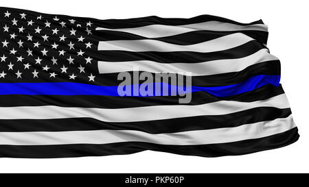 Blue Lives Matter Isolated Flag With White Background, 3D Rendering - Stock Photo