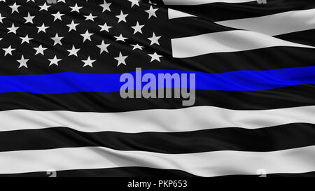 Blue Lives Matter Closeup Flag, 3D Rendering - Stock Photo